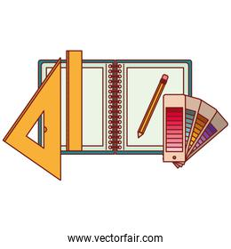 drawing tools and notebook in colorful silhouette with thin red contour