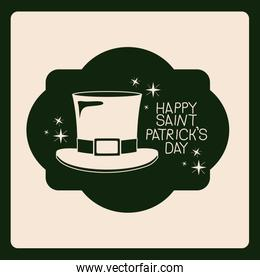 poster happy saint patricks day of emblem with hat in green color silhouette