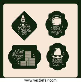 poster happy saint patricks day of emblem set with hat and cauldron and coins in green color silhouette
