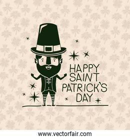 poster happy saint patricks day with leprechaun in green color silhouette with background pattern of clovers
