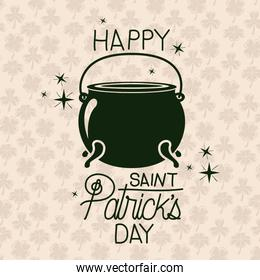 poster happy saint patricks day with cauldron in green color silhouette with background pattern of clovers