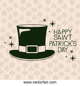 poster happy saint patricks day with top hat in green color silhouette with background pattern of clovers