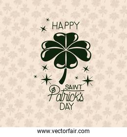 poster happy saint patricks day with clover of four leaves in green color silhouette with background pattern of clovers