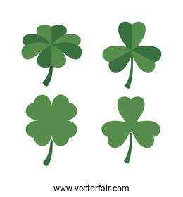 clovers set of four and three leaves in colorful silhouette over white background