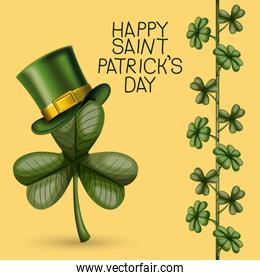 poster happy saint patricks day with clover of three leaves with top hat in colorful silhouette over light yellow background