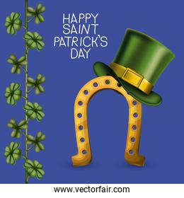 poster happy saint patricks day with golden horseshoe with top hat and climbing plant of clovers in colorful silhouette over dark blue background