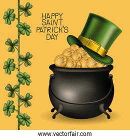 poster happy saint patricks day with hat over treasure of golden coins in cauldron and climbing plant of clovers in colorful silhouette over light yellow background