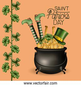 poster happy saint patricks day with cauldron full of gold coins and leprechaun legs and hat and climbing plant of clovers in colorful silhouette over wheat color background
