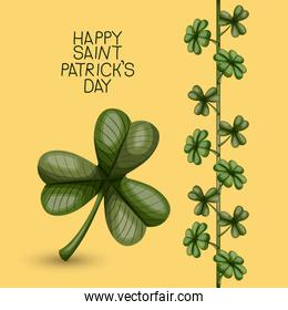 poster happy saint patricks day with clover of three leaves and climbing plant of clovers in colorful silhouette over light yellow background