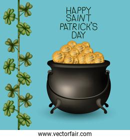 poster happy saint patricks day with treasure of golden coins in cauldron and climbing plant of clovers in colorful silhouette over light blue background