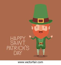 poster happy saint patricks day with elf in colorful silhouette over light brown background