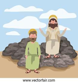 jesus the nazarene and thaddeus in scene in desert sitting on the rocks in colorful silhouette