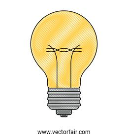 light bulb icon in colored crayon silhouette