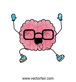 brain cartoon with glasses jumping for joy in colored crayon silhouette