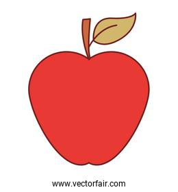 apple fruit in colorful silhouette with brown contour