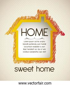 Illustration of home icon house silhouette on beige background v