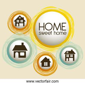 Illustration of home icons house silhouettes on beige background