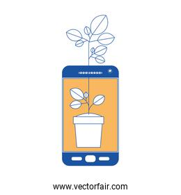 smartphone with plant in pot