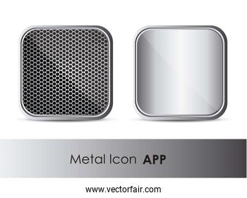 illustration of icon for application with metal pattern vector i