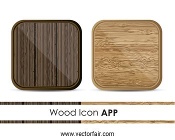 illustration of icon for application with wood pattern vector il