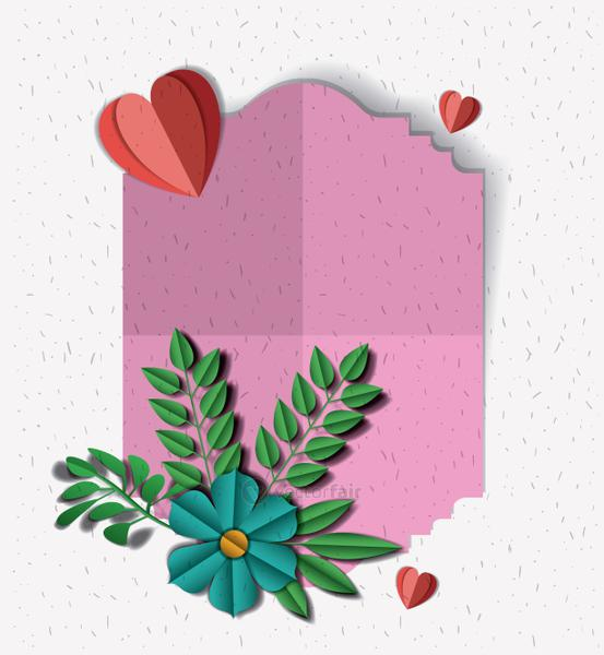cute frame with flowers and hearts craft