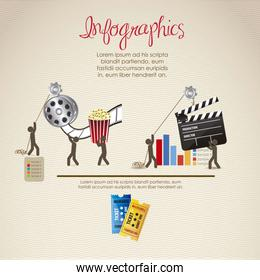 infographics illustration of cine and movies with icons of peopl