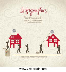 infographics illustration of house icons with people icons vecto