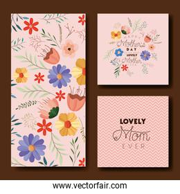 mothers day hand made font postcards set