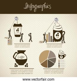 infographics illustration of coffee icons with icons of people v