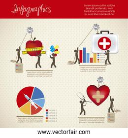 infographics illustration of medicine icons with icons of people