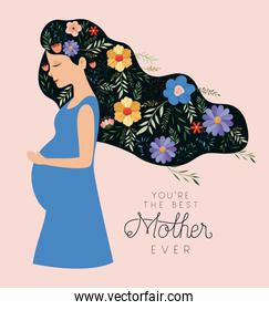 happy mothers day card with pregnancy mom