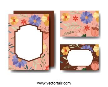 set cards handmade with floral decoration