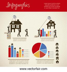 infographics illustration of home icons with icons of people vec
