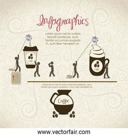 infographics illustration of  coffee icons people icons vector i