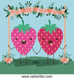 cute strawberry couple in landscape kawaii character