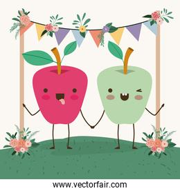 cute apples couple in landscape kawaii character
