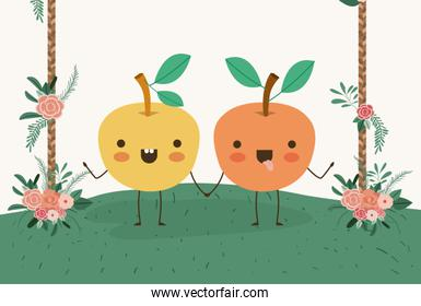 cute oranges couple in landscape kawaii character