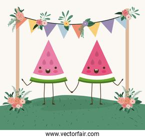 cute watermelons couple in landscape kawaii character
