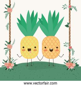 cute pineapples couple in landscape kawaii character