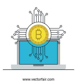 laptop with bitcoin money
