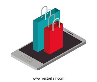 smartphone with shopping bag isometric icon