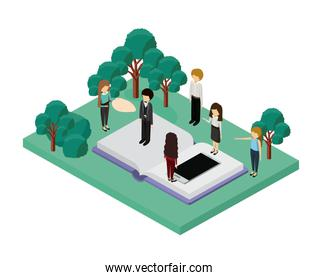 mini people with forest scene and smartphone