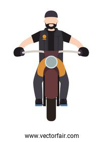 biker in the classic motorcycle character