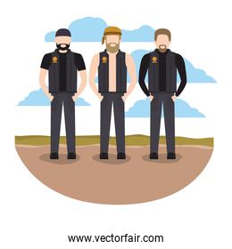 rough motorcyclists in the road scene avatars characters
