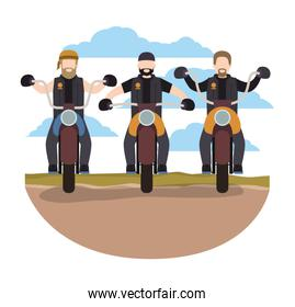 group of bikers in the classic motorcycle scene character