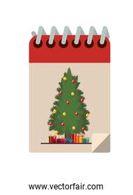 christmas calendar with tree and gifts