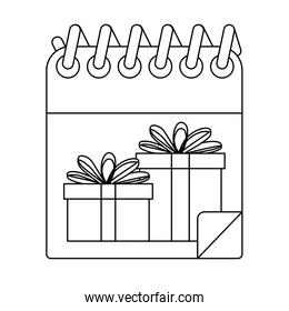 christmas calendar with gifts