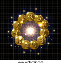 universe cryptocurrency gold set types icons
