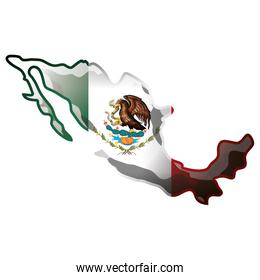 mexican map with flag