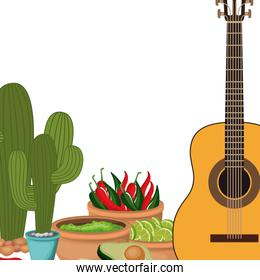 guitar with mexican party icons